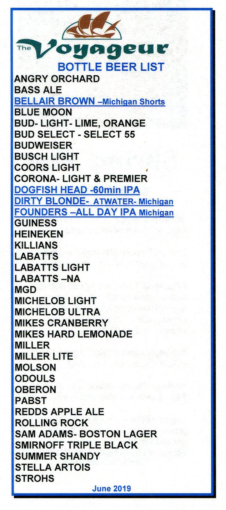 The Voyageur Beer list