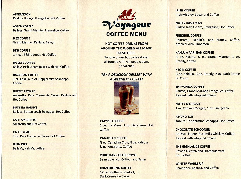 The Voyageur Coffee Menus