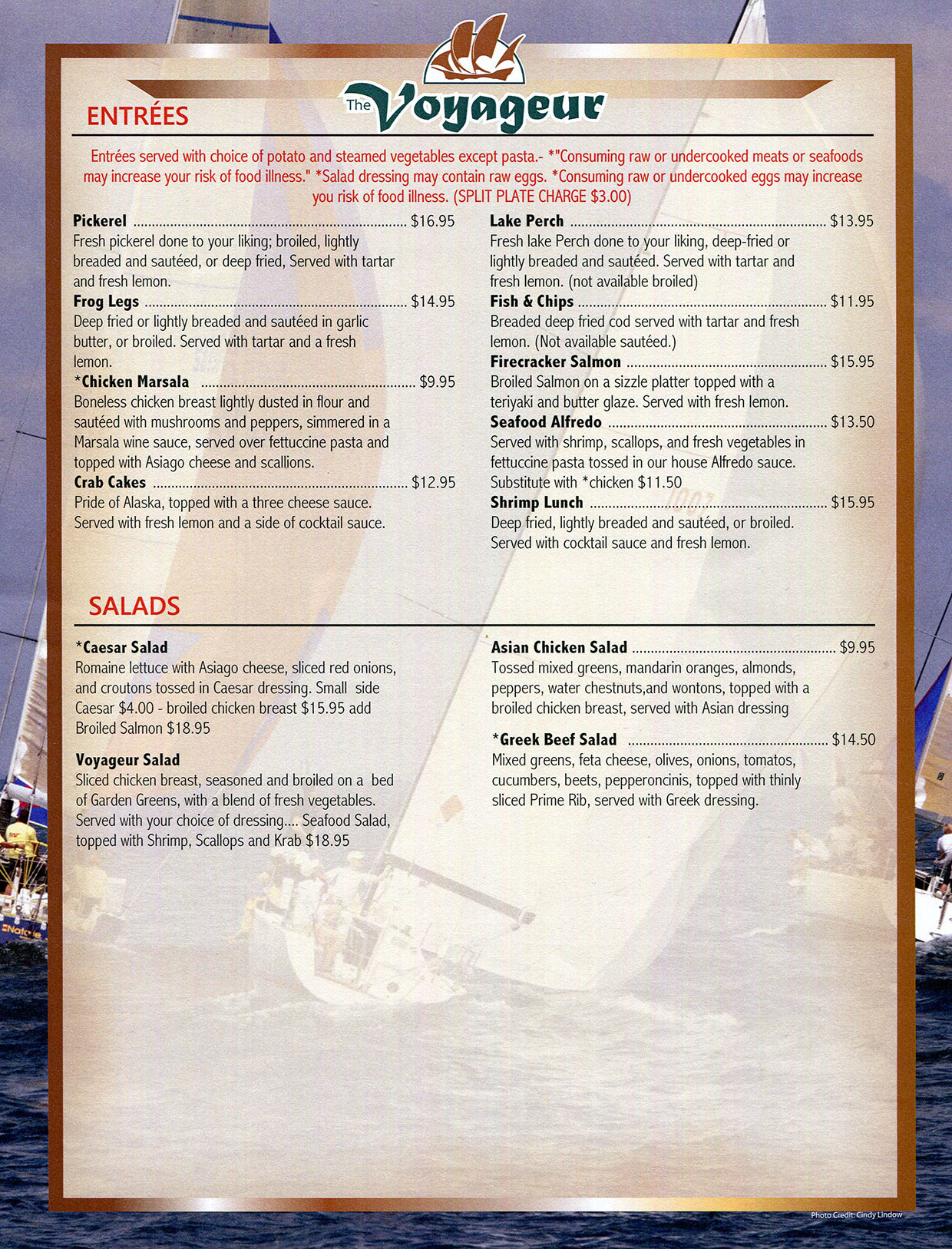 Lunch menu at The Voyageur