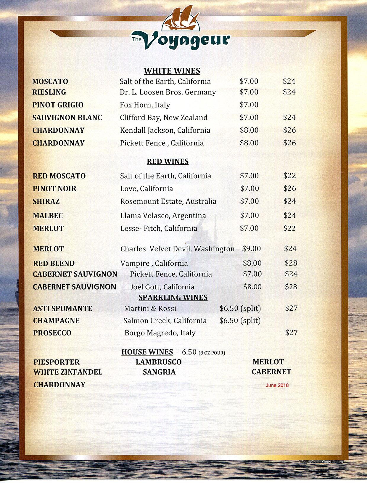 The Voyageur Drink Menus